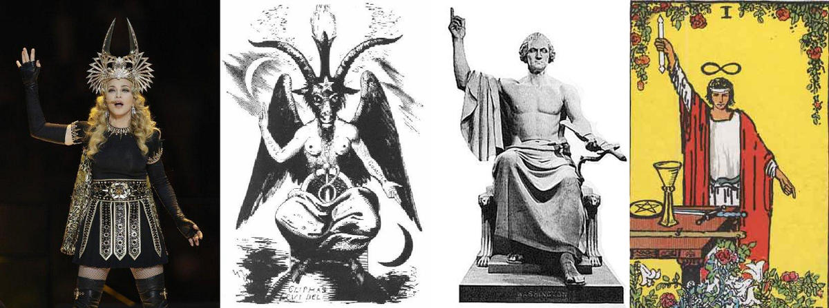 Why They Lie To Us About The Flat Earth Baphomet-Washington-and-madonna