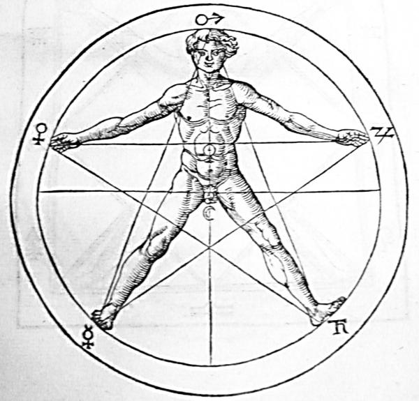 Pentagram and man (Agrippa)