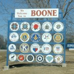 Masonic Welcome Sign in Boone, Iowa