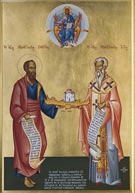 Saint Paul and Titus holding Crete