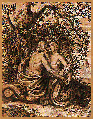 Cadmus and wife Harmonia as serpents