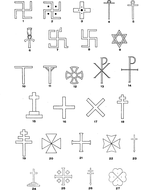 Cross and swastikas
