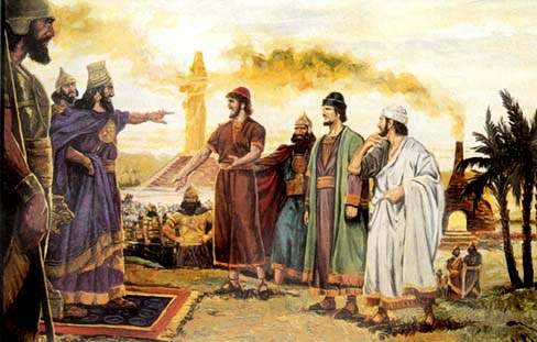Shadrach and his two companions Meshach, and Abednego
