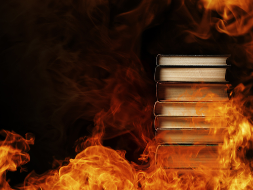 churches burning books