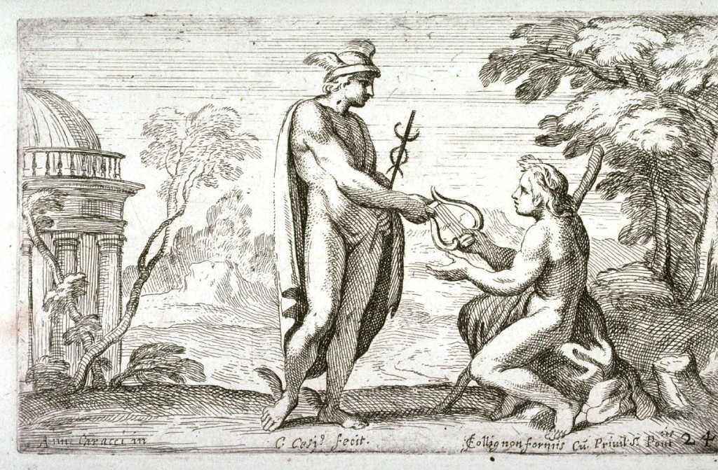 Symbols - Lyre Mercury Giving a Lyre to Apollo, from the Farnese Gallery Panels after Annibale Carracci