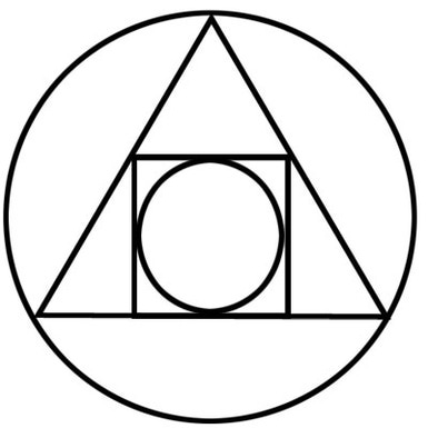Symbols - triangle, a square, and two circles