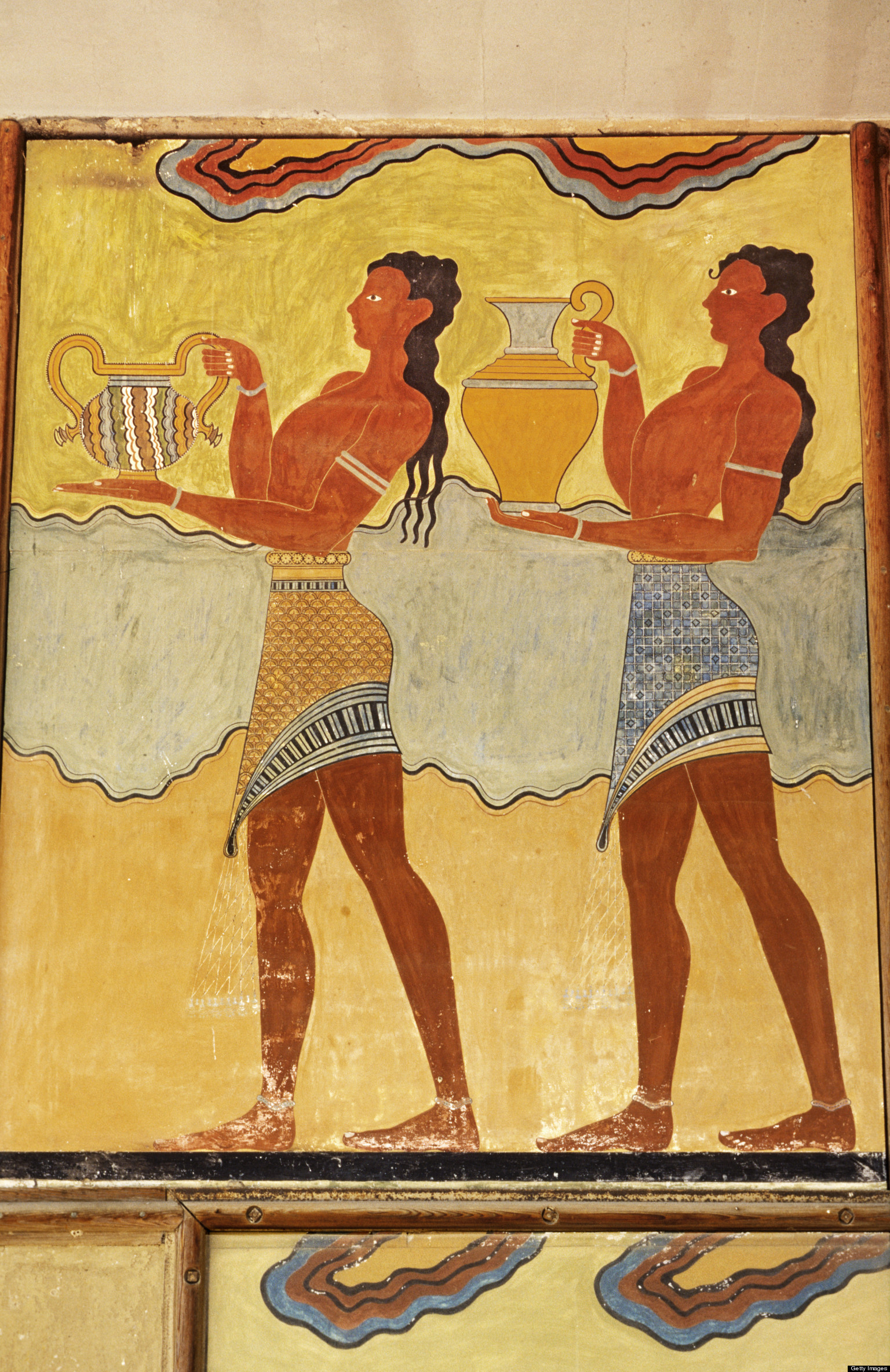 Cup Bearers fresco in the Palace of Knossos,Crete.