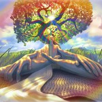 The symbol of the cosmic tree rooted in this world and growing up to heaven