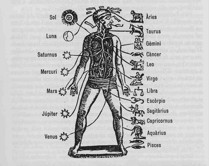 Vintage illustration of the Human Body and it's Zodiacal and Planetary Correspondences.