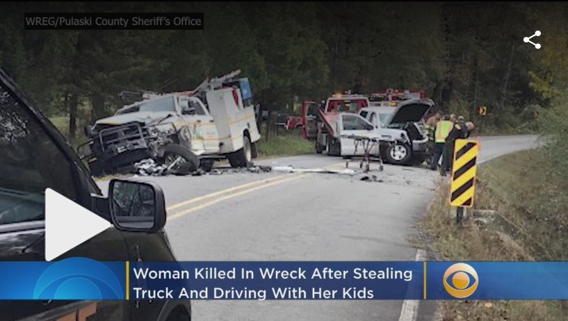 Woman fleeing from demons dies after crashing stolen truck